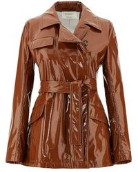 Sportmax Patent Leather Trench Coat - Brown