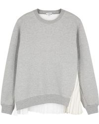 CLU - Grey Pleat-trimmed Cotton-blend Sweatshirt - Lyst