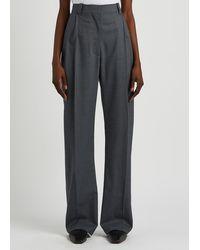 EFTYCHIA Slate Gray Wide-leg Wool Pants - Blue