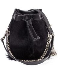 Sherene Melinda - Black Lou Lou Pouch Bag With A Fan - Lyst