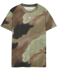 Off-White c/o Virgil Abloh Camouflage Stencil Printed Cotton T-shirt - Green