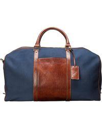 Maxwell Scott Bags Luxury Large Navy & Tan Canvas Weekender Bag - Blue