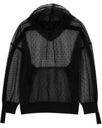 RED Valentino Black Hooded Point D'esprit Top