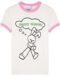 Natasha Zinko Happy Monday White Stretch-cotton T-shirt