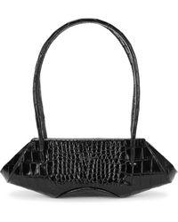 BEHNO Elizabeth Baguette Mini Crocodile-effect Shoulder Bag - Black