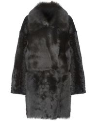 Gushlow & Cole Relaxed Fit Mixed Shearling Coat - Black