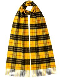 Johnstons of Elgin Macleod Of Lewis Tartan Classic Cashmere Scarf - Yellow