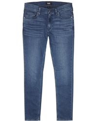 PAIGE - Croft Transcend Dark Blue Skinny Jeans - Lyst