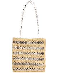 Paco Rabanne Iconic 1962 Embellished Raffia Shoulder Bag - Natural