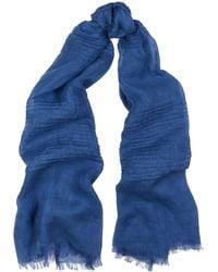 Eileen Fisher Blue Linen Gauze Scarf