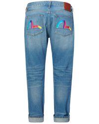 Evisu Rainbow Seagull Print Carrot Fit Jeans - Blue