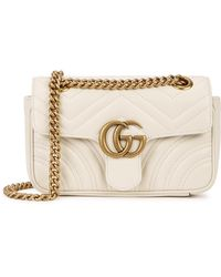 Gucci GG Marmont Mini Quilted Leather Shoulder Bag - White