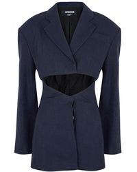 Jacquemus La Veste Arles Navy Linen-blend Blazer - Blue