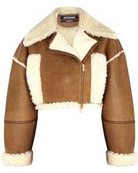 Jacquemus La Vest Paiou Cropped Shearling-trimmed Jacket - Multicolour