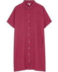 Eileen Fisher Pink Checked Linen Shirt Dress