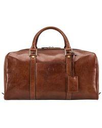 Maxwell Scott Bags Luxury Men S Italian Leather Travel Holdall In Tan - Brown