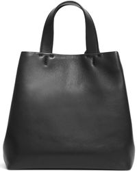 Theory Small Simple Tote In Leather - Black