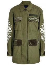 SJYP - Green Embroidered Cotton Blend Jacket - Lyst