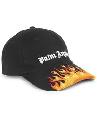 Palm Angels Black Flame-embroidered Cotton Cap