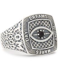 Tom Wood Champion Engraved Sterling Silver Ring - Metallic