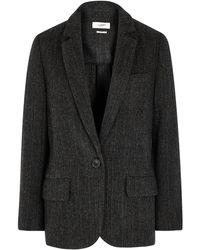 Étoile Isabel Marant Charly Herringbone Wool Blazer - Black