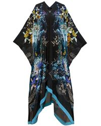 Meng Navy Pagoda Silk Georgette Kaftan - Blue