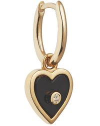 Otiumberg Heart-embellished 9kt Gold Hoop Earring - Black