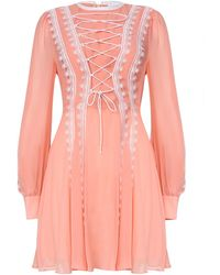 True Decadence Peach Mini Dress With Corset Detail - Pink