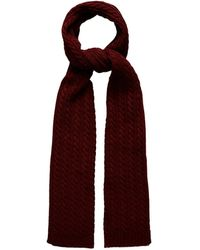 Eton of Sweden Red Cable Knit Wool Scarf - Purple