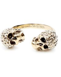 69b36b7a34a70 Alexander McQueen Silver Plated Spiked Skull Ring in Metallic - Lyst