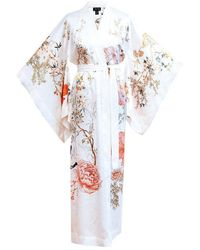 Meng Womens White Red Floral Silk Satin Unlined Kimono