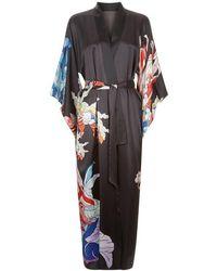 Meng - Black Silk Satin Full Length Lined Kimono - Lyst