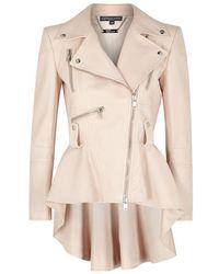 Alexander McQueen Blush Peplum Leather Jacket - Pink