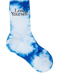 Paco Rabanne X Peter Saville Tie-dyed Cotton-blend Socks - Blue