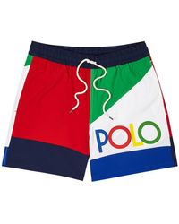 Polo Ralph Lauren Colour-blocked Panelled Swim Shorts - Blue