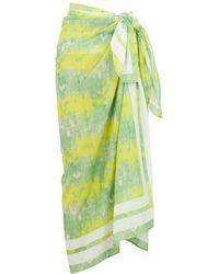 Ganni - Green Printed Cotton Sarong - Lyst