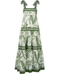 Zimmermann Palm-print Cotton Maxi Dress - Green