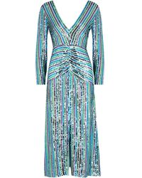 RIXO London - Emmy Striped Sequin Midi Dress - Lyst