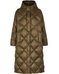 Stand Studio Farrah Dark Olive Quilted Shell Coat - Green