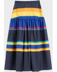 Chinti & Parker Navy Sunset Stripe Cotton-silk Midi Skirt - Blue