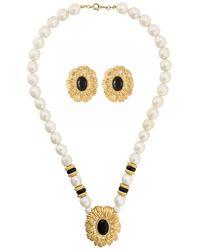 Susan Caplan 1980s Vintage Kenneth Jay Lane Flower Earring And Necklace Set - Black