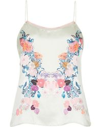 Meng - Green Floral Silk Satin Camisole - Lyst