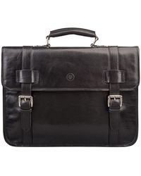 Maxwell Scott Bags High Quality Black Leather Backpack Briefcase For Men