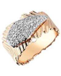 Kismet by Milka 14ct Rose Gold And Diamond Dagger Pinky Ring - Metallic