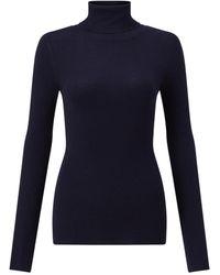 Jigsaw Silk Cotton Polo Neck Jumper - Blue