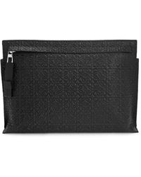 Loewe T Logo-embossed Leather Pouch - Black