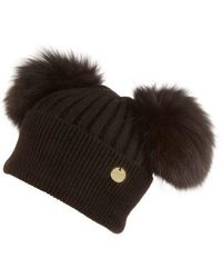 Popski London Double Angora Fur Pom Pom Hat Black With Black