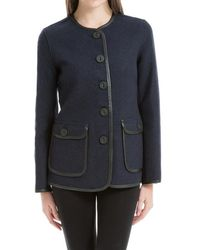 Max Studio - Wool Flannel Jacket With Leather Binding - Lyst