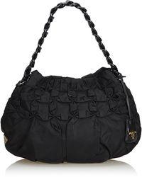 Prada Black Nylon Hobo Bag