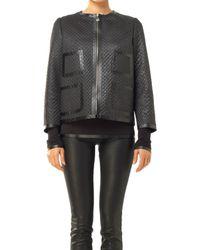 Max Studio - Coated Basketweave Zip Front Jacket - Lyst